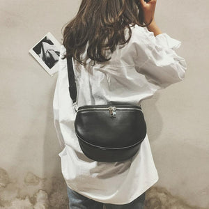 Leather shell messenger shoulder bag