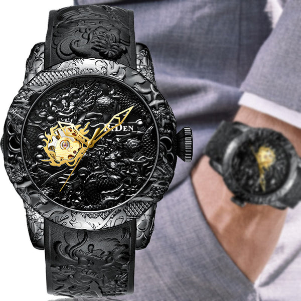 Engraved men wrist watch