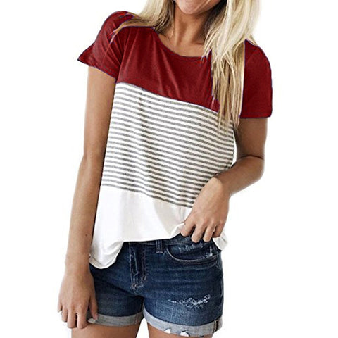 New Ladies color stripe Tee