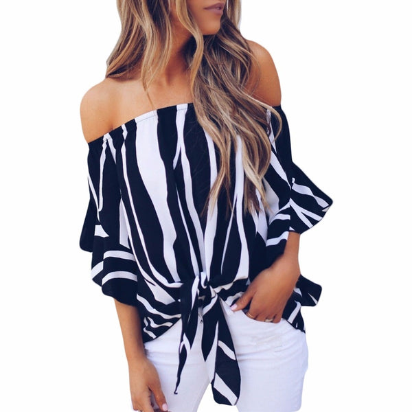 Off the shoulder stripped blouse