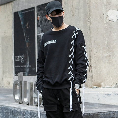 Drawstring bandage men hoodie sweat shirt