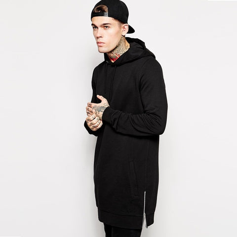 Male fleece long line hoodie