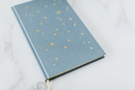 Starry Lined Notebook - Dusty Blue