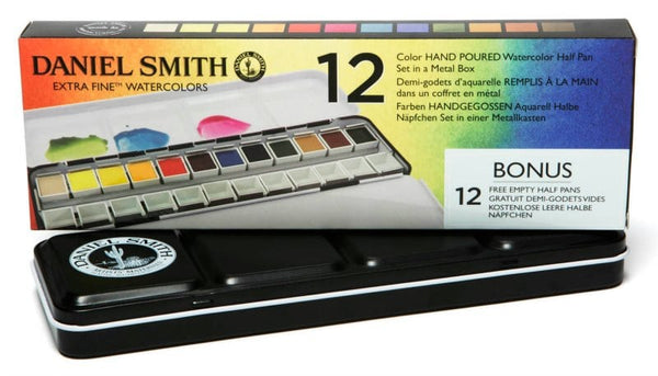 Daniel Smith Extra Fine Watercolor Half Pan Sets, 12 Colors
