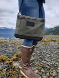 FisherFolk CrossBody Zipper Shoulder Bag | Spruce with Black Leather