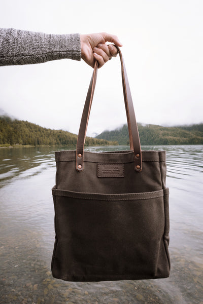 FisherFolk Dark Brown Waxed Twill Tote