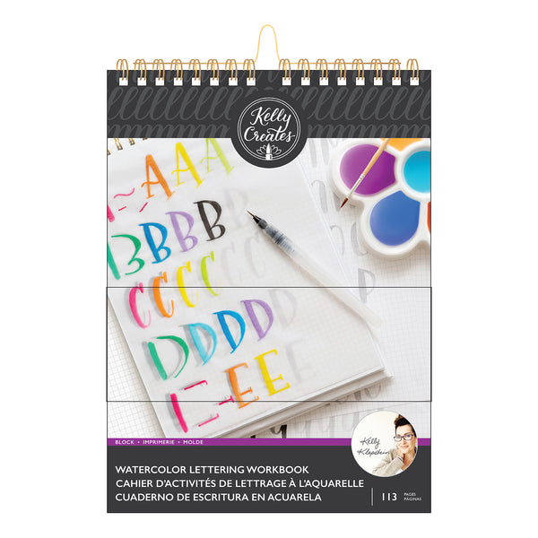 Kelly Creates Watercolor Lettering Workbook, Block Lettering