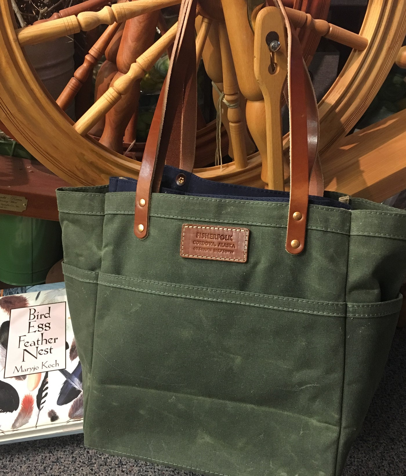 FisherTote: FisherFolk Waxed Canvas Sturdy Tote Olive with Brown Stained Handle