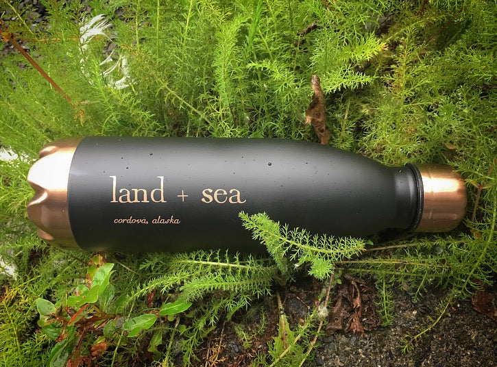 Land+Sea Copper Black Water Bottle