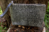 Linen Knit Loop Design Medium Zip Bag