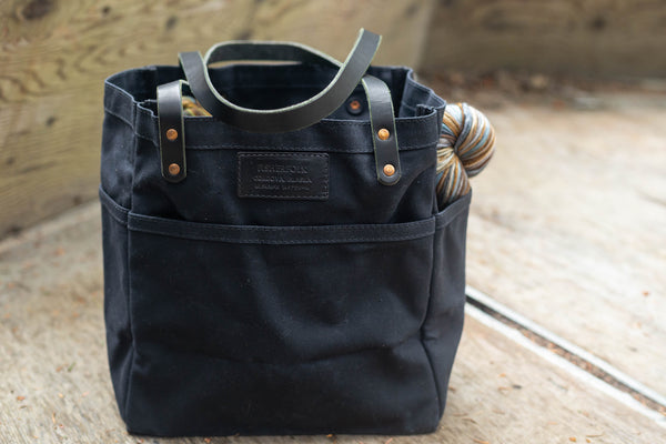 FisherFolk Waxed Canvas Tote Black with Black Stained Handle