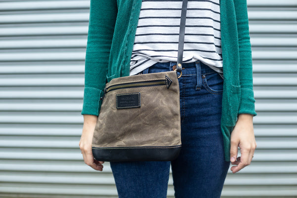 FisherFolk: CrossBody Zipper Shoulder Bag. Dark Khaki with Black Leather