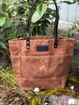 FisherFolk Waxed Canvas Sturdy Tote | Rust with Black Stained Handle