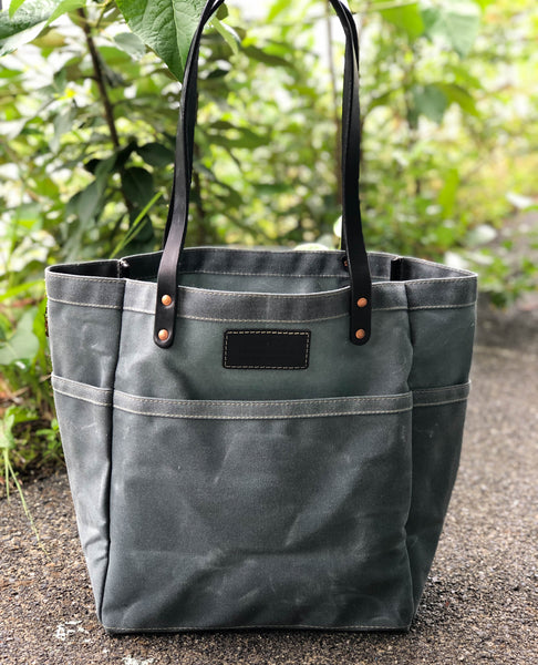 FisherFolk Waxed Canvas Sturdy Tote | Slate with Black Stained Handle