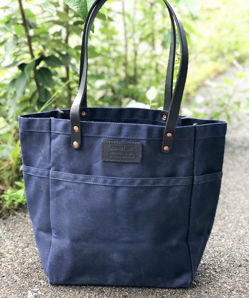 FisherFolk Waxed Canvas Sturdy Tote | Navy with Black Stained Handle