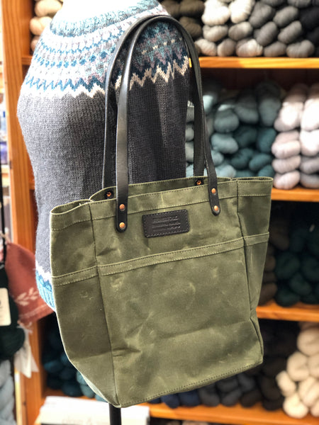 FisherFolk Waxed Canvas Sturdy Tote | Olive with Black Stained Handle