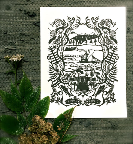 "Cordova, Alaska  ""Follow the Fish, Follow the Knitting"" Gansey Papercut Print"