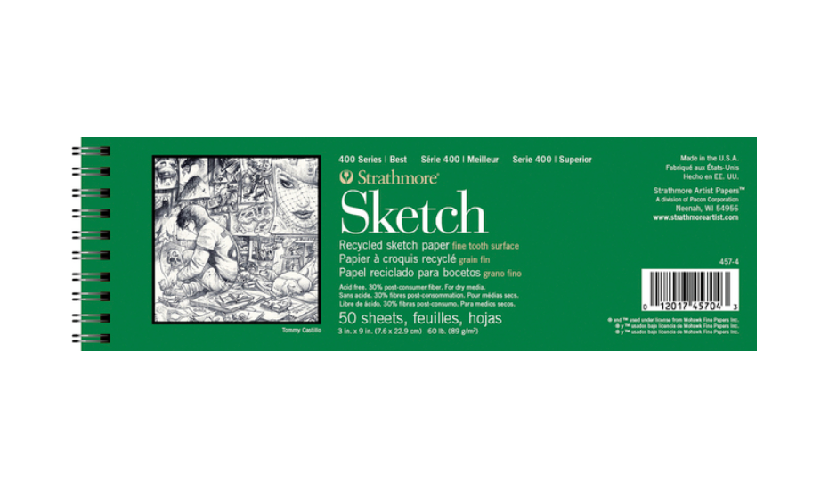 Strathmore 400 Series Recycled Sketch Pad, 3 x 9 Inches, 60 lb, 50 Sheets
