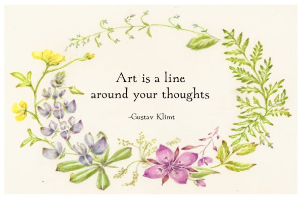 """Art is a line around your thoughts ""   STICKER"