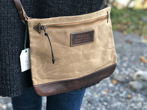FisherFolk: CrossBody Zipper Shoulder Bag. Sage with  Brown Leather
