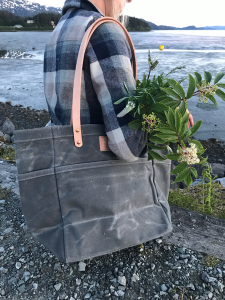 FisherFolk Waxed Canvas Sturdy Tote | Slate with Natural Handle