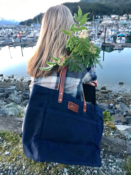 FisherFolk Waxed Canvas Sturdy Tote | Navy with Brown Stained Handle