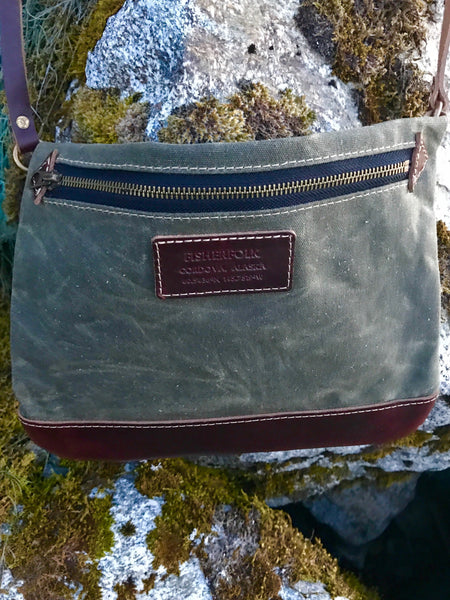 FisherFolk: CrossBody Zipper Shoulder Bag. Spruce with Brown Leather