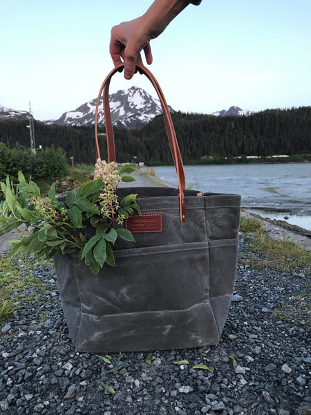 FisherFolk Waxed Canvas Sturdy Tote | Slate with Brown Stained Handle