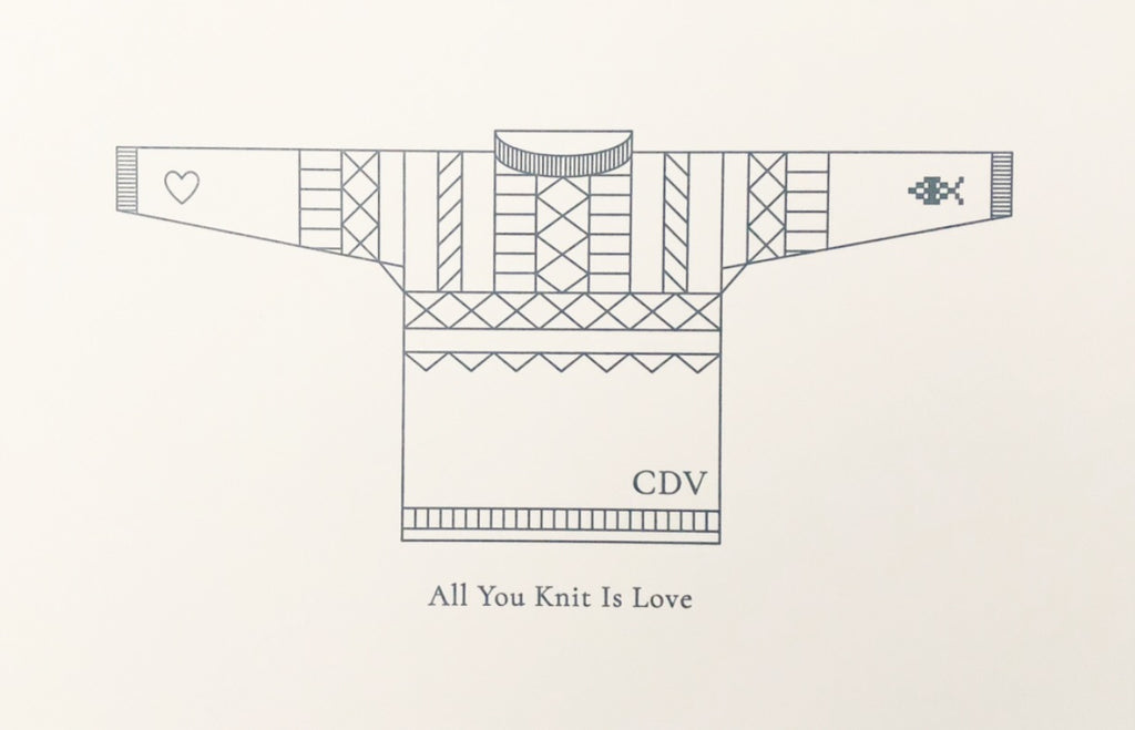 Cordova Gansey Letterpress Print: All you Knit is Love