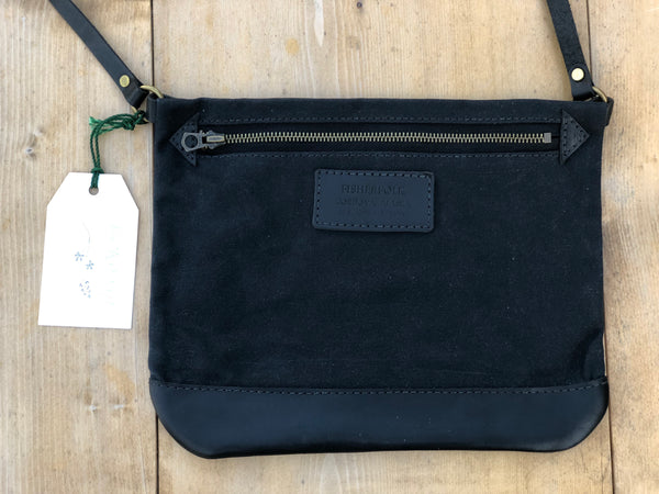 FisherFolk CrossBody Zipper Shoulder Bag | Black with Black Leather