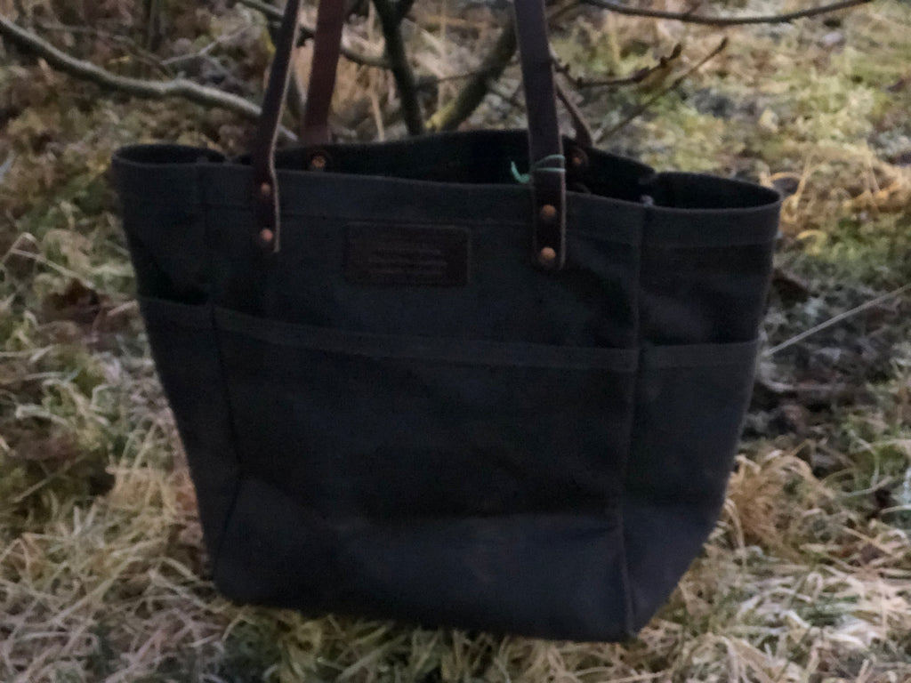 FisherFolk Waxed Canvas Tote Dk Brown with Brown Stained Handle