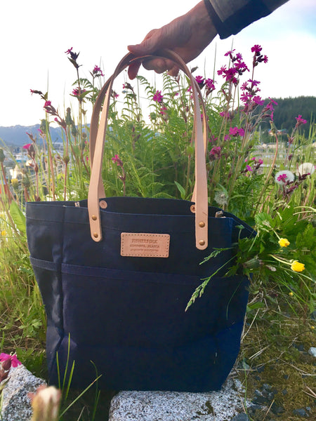 FisherFolk Waxed Canvas Sturdy Tote | Navy with Natural Handle
