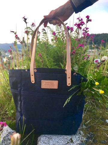 FisherTote: FisherFolk Waxed Canvas Sturdy Tote Navy with Natural Handle