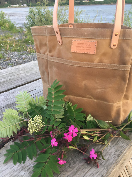 FisherFolk Waxed Canvas Sturdy Tote | Sage (TAN) with Natural Handle