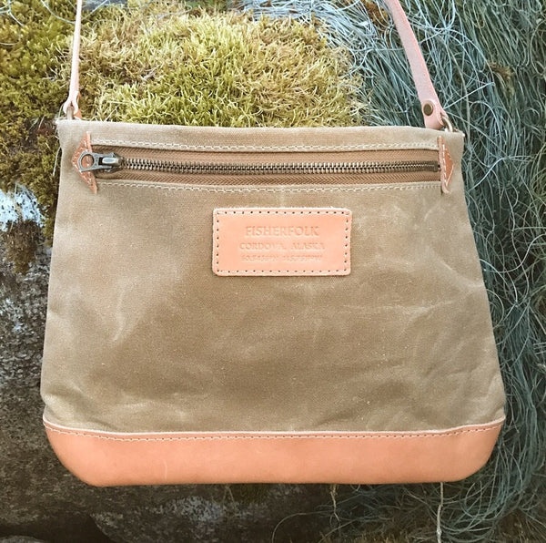 FisherFolk: CrossBody Zipper Shoulder Bag. Tan with Natural