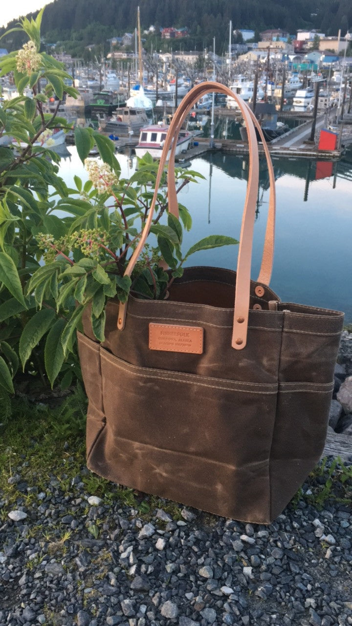 FisherFolk Waxed Canvas Sturdy Tote | Dark Khaki with Natural Handle
