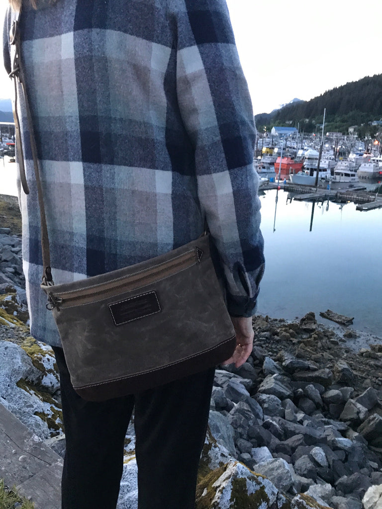 FisherFolk: Cross Body Zipper Shoulder Bag. Dark Khaki with Brown Leather