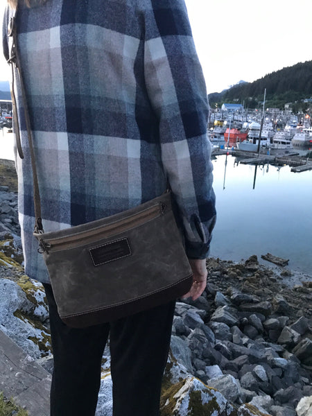 FisherFolk: CrossBody Zipper Shoulder Bag. Dark Khaki with Brown Leather
