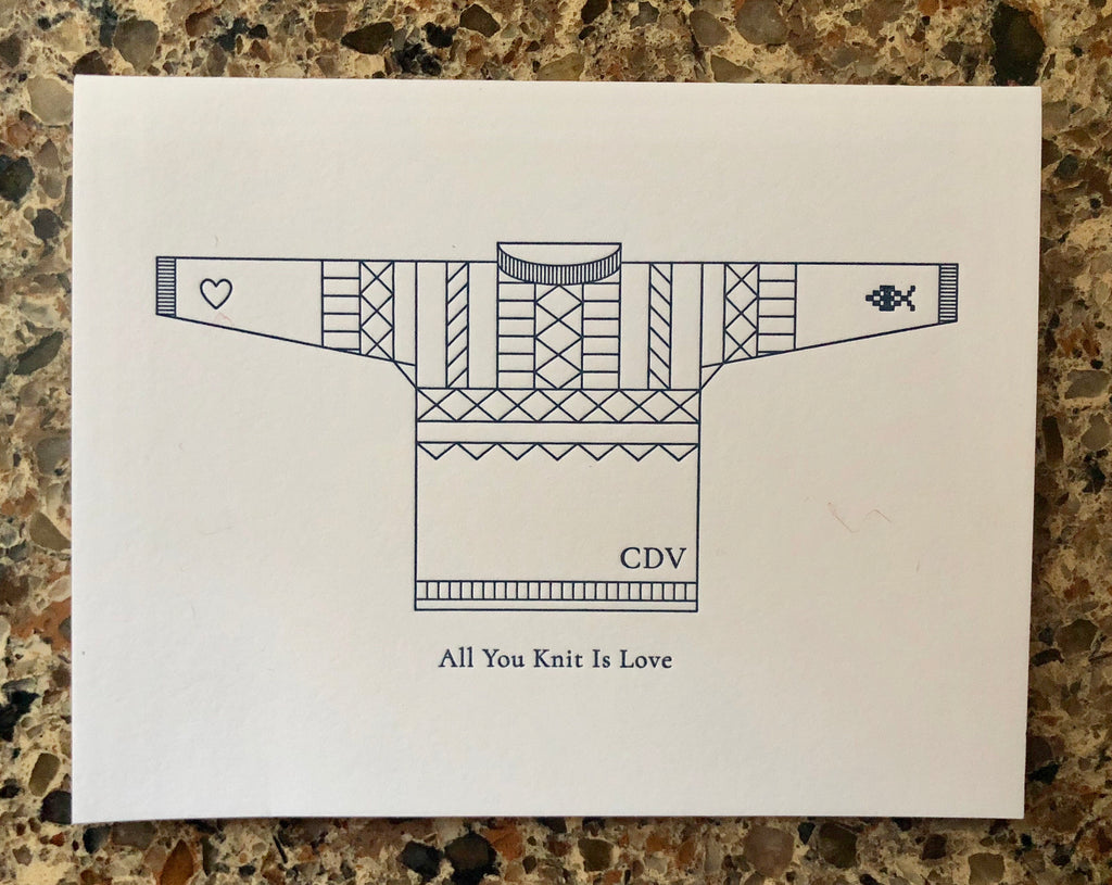 "Cordova Gansey Letterpress ""All you  knit is love"" card"