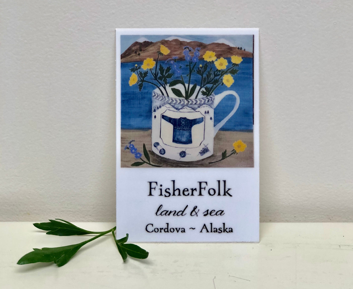 FisherFolk Land & Sea Gansey Mug Sticker