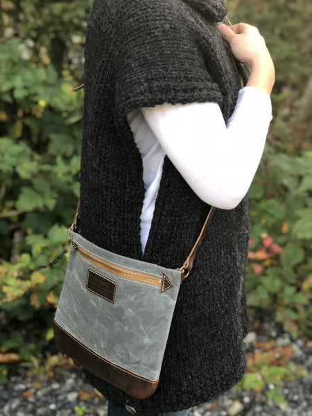 FisherFolk: CrossBody Zipper Shoulder Bag. Slate with Brown Leather