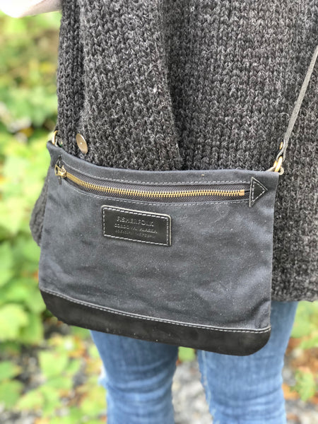 FisherFolk: CrossBody Zipper Shoulder Bag. Black with Black Leather