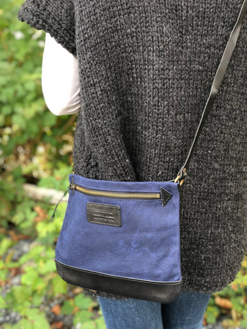 FisherFolk: CrossBody Zipper Shoulder Bag. Navy with Black Leather
