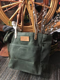 FisherTote: FisherFolk Waxed Canvas Sturdy Tote Olive with Natural Handle