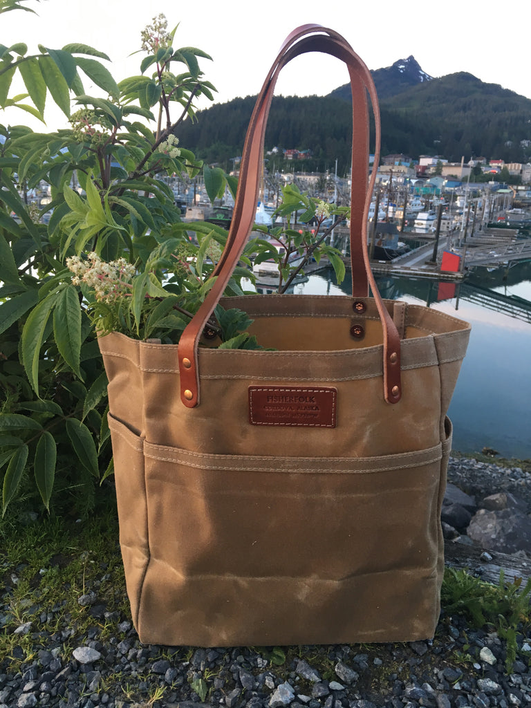 FisherTote: FisherFolk Waxed Canvas Sturdy Tote Sage with Brown Stained Handle