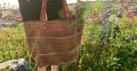 FisherTote: FisherFolk Waxed Canvas Sturdy Tote Rust with Brown Stained Handle