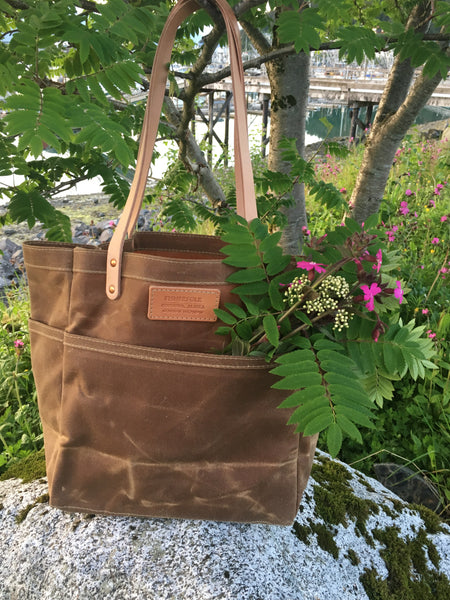 FisherFolk Waxed Canvas Sturdy Tote | Rust with Natural Handle