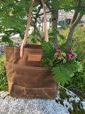 FisherTote: FisherFolk Waxed Canvas Sturdy Tote Rust with Natural Handle
