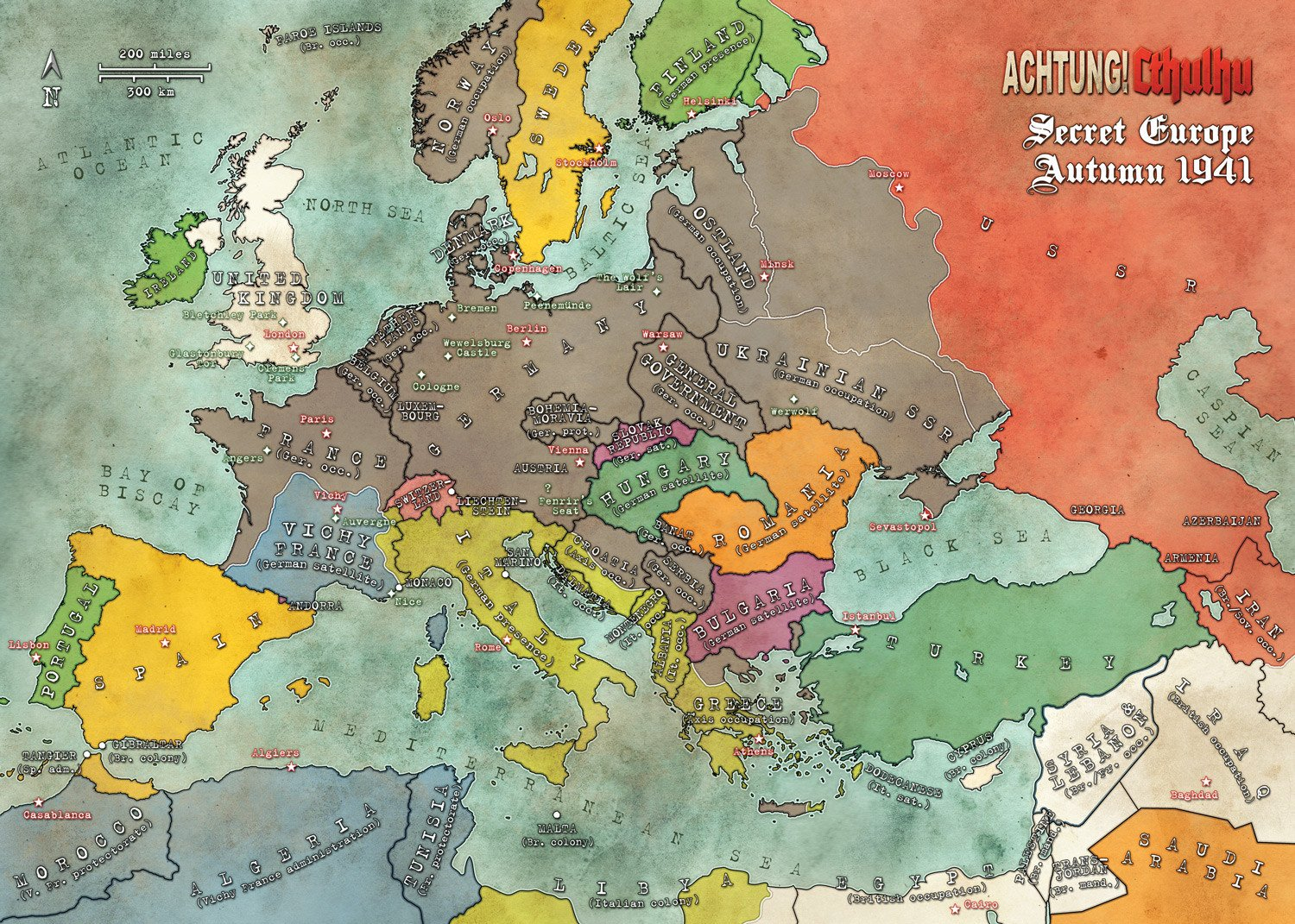 Achtung! Cthulhu Satin Map of Europe