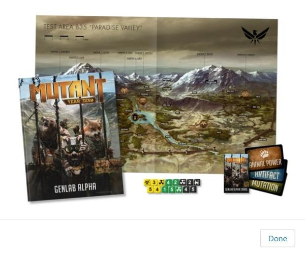 Mutant: Genlab Alpha Bundle: core book, card set, dice & map